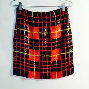 Sequin Plaid Skirt